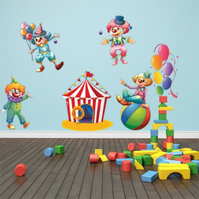 wallstickers folies circus animal circus wall sticker easy to peel and stick