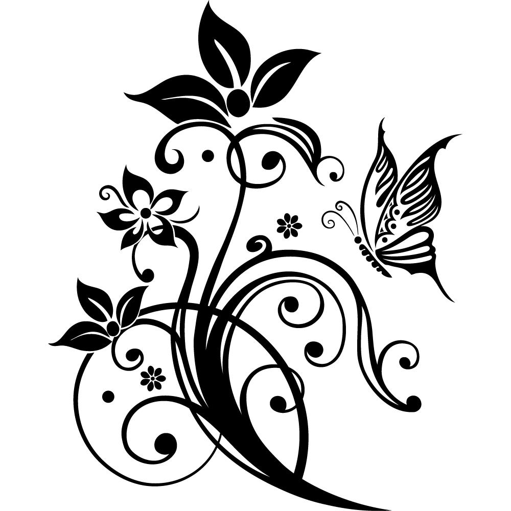 Wallstickers folies : Butterfly Flower Wall Stickers