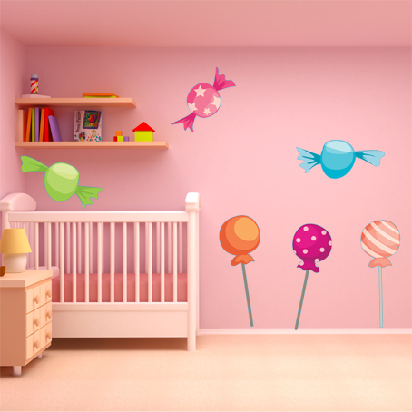 Wallstickers folies candy wall stickers for Candy wall mural