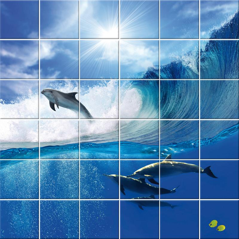 Wallstickers folies dolphin tiles wall stickers - Azulejo 15x15 ...