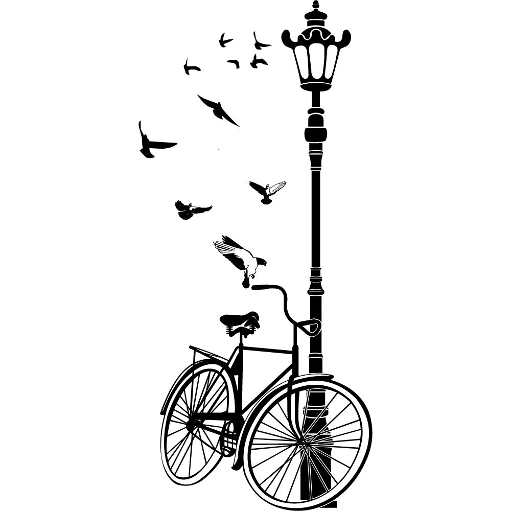 Wallstickers folies lamppost bike wall stickers lamppost bike wall stickers amipublicfo Choice Image