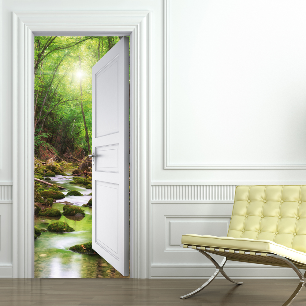 Wallstickers folies nature door stickers for Door mural stickers