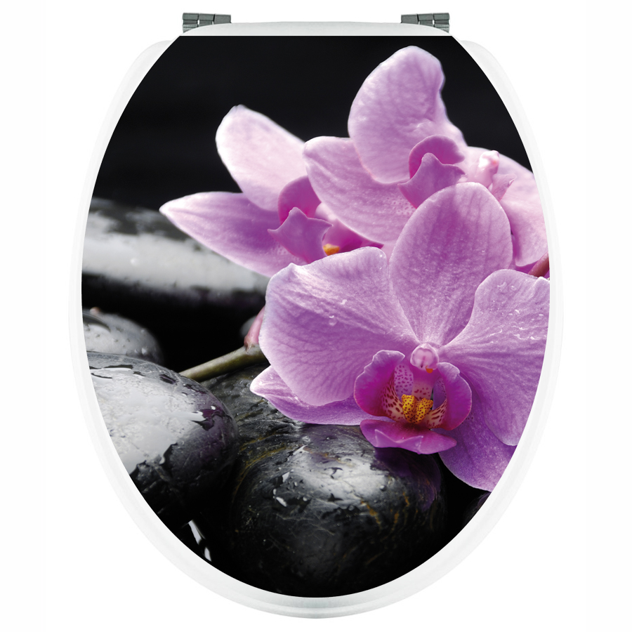 Wallstickers folies orchid toilet seat decal sticker - Stickers abattant wc ...