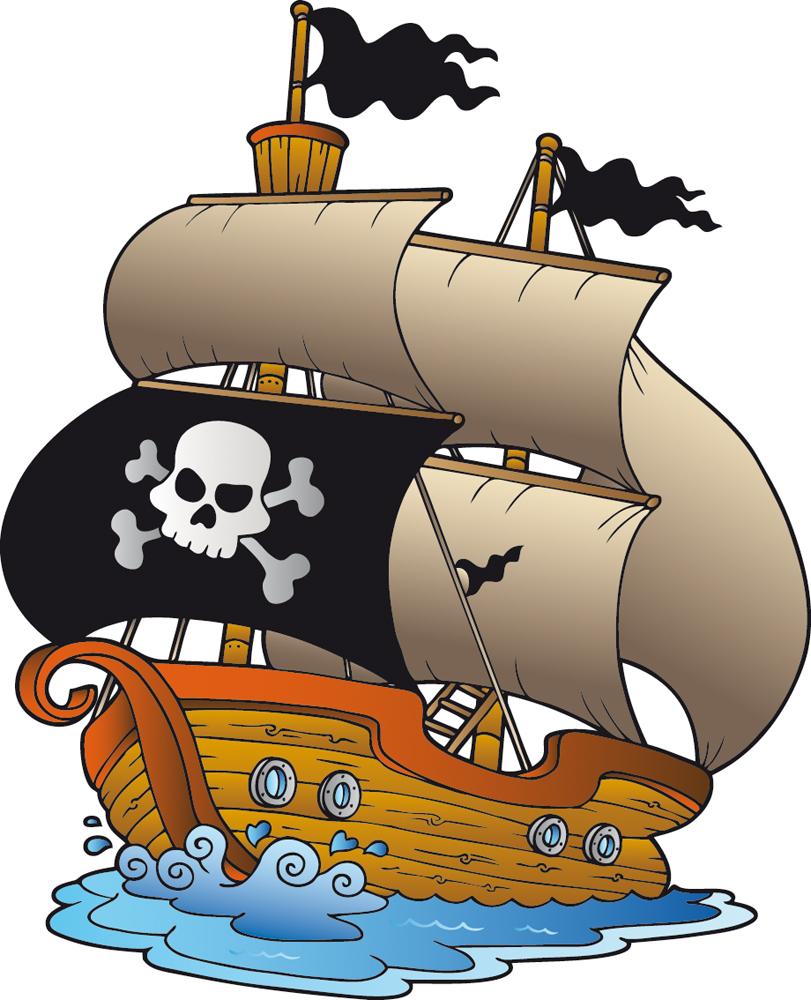 Открытки для, картинка пираты на корабле для детей
