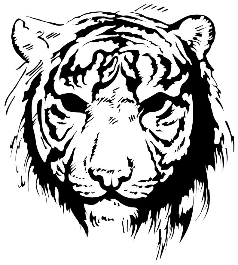 тигр картинки для выжигания два